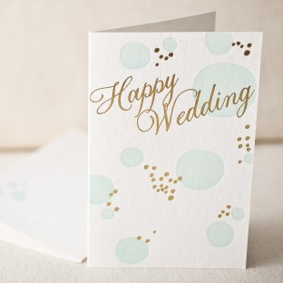 Happy Wedding letterpress and foil card