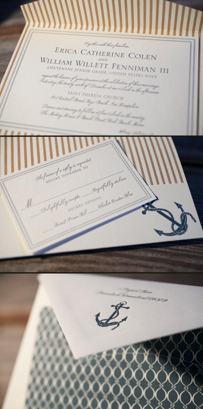 Nautical letterpress wedding invitations with classic stripes