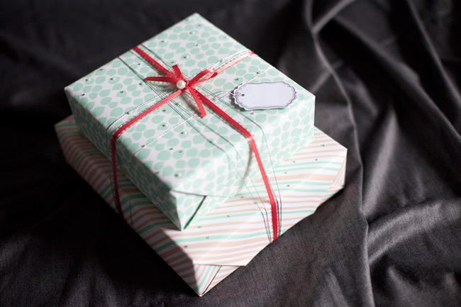 Double-sided gift wrap from Smock is perfect for stacked gifts -- alternate the different sides of the gift wrap to create a unique yet cohesive look