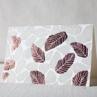 Leaves letterpress and foil cards