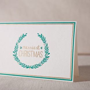 Merriest Christmas letterpress and foil cards