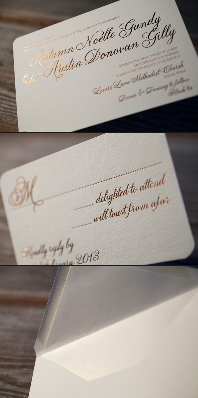 Foil wedding invitations in copper shine