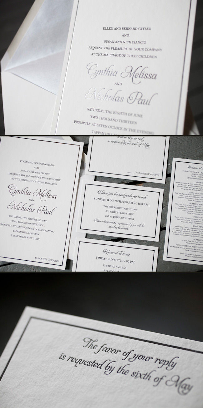 letterpress + foil wedding invitations - Smock.