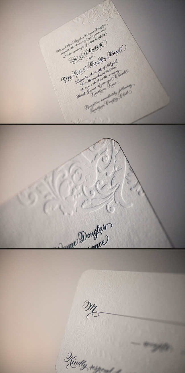 Timeless letterpress with submitted calligraphy