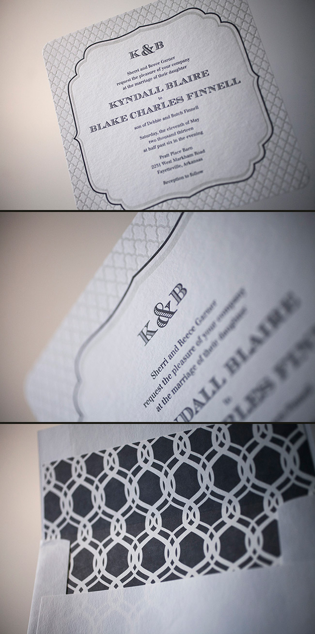 Letterpress wedding invitations in modern style