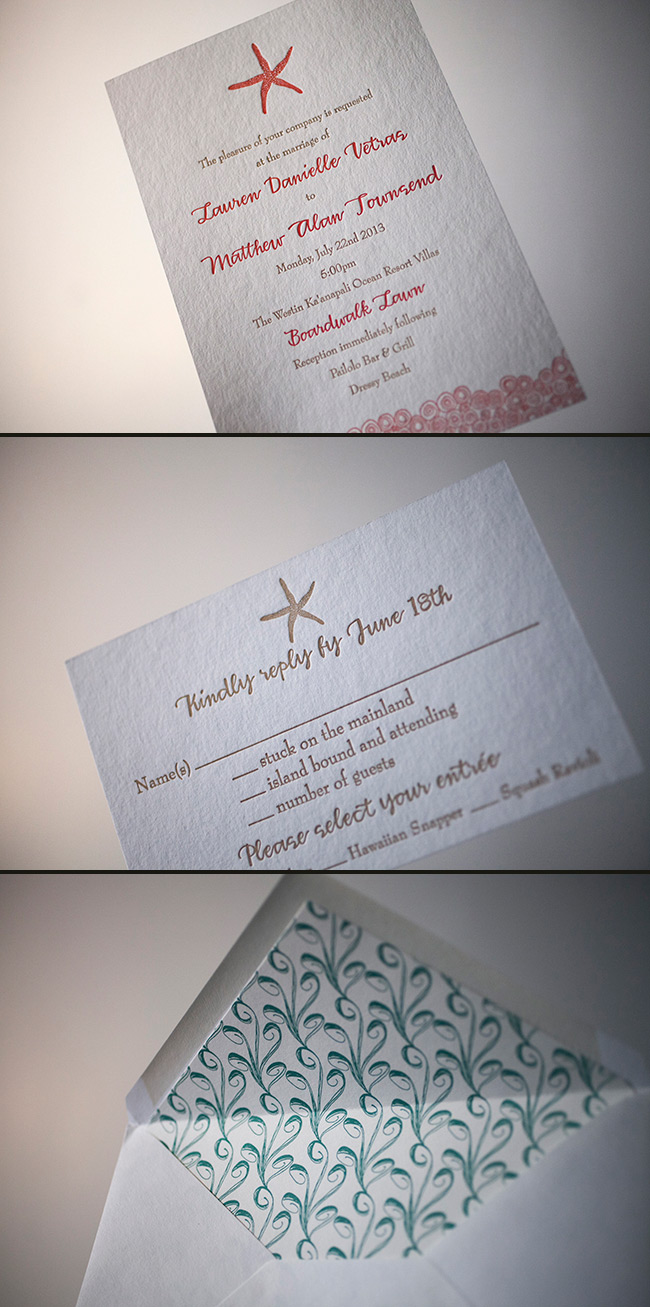 Starfish and nautical themed wedding invitations