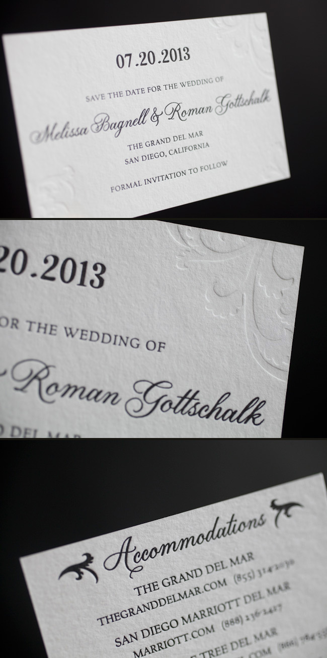 Letterpress save the dates in black and blind deboss