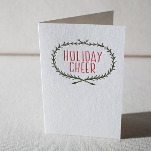 Wreath Cheer letterpress cards