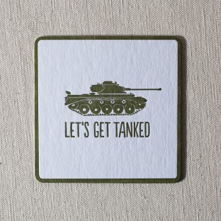 Tanked letterpress coasters