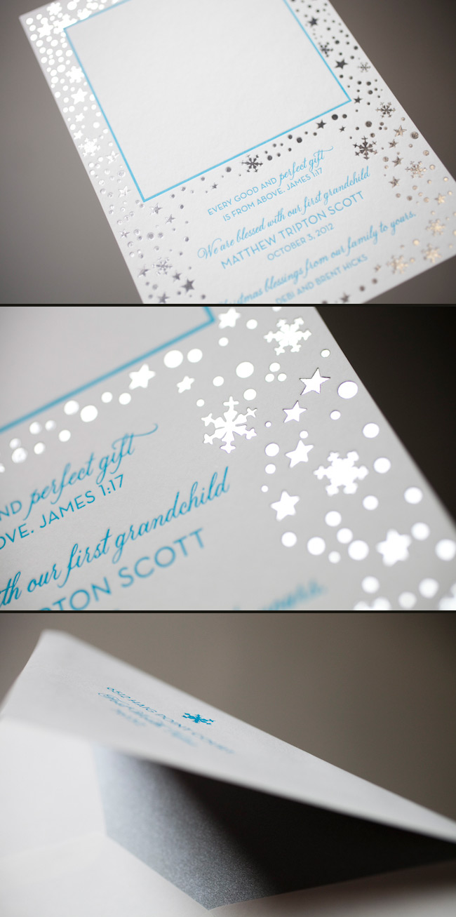 Letterpress and foil make these holiday cards shine