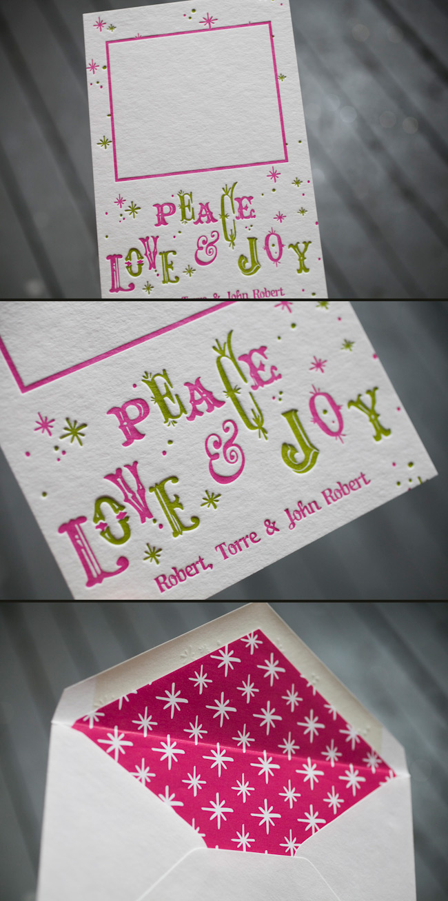 Peace, love and joy letterpress holiday cards