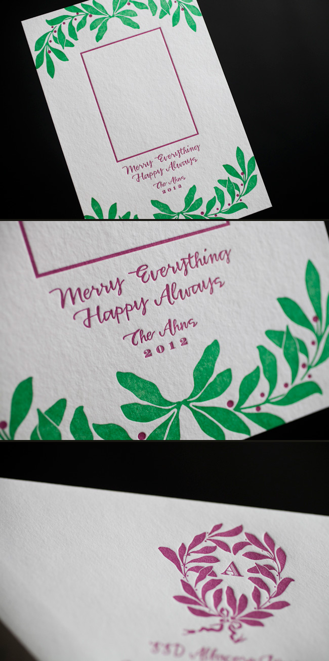 Unique holiday photo cards with letterpress printing by Smock