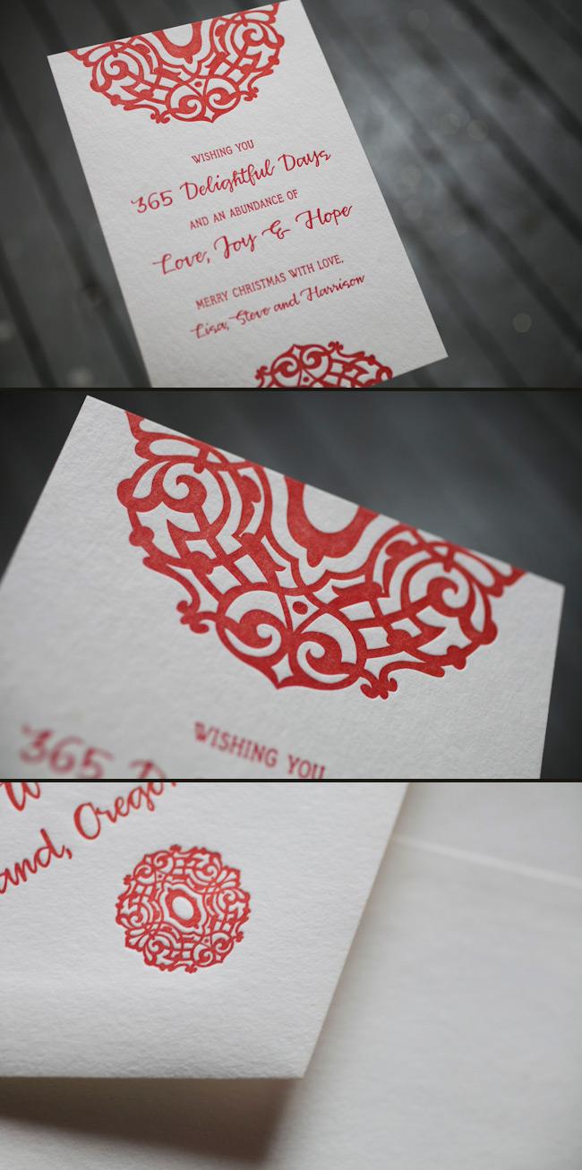 Lashar Letterpress Christmas Cards in Red - Smock.