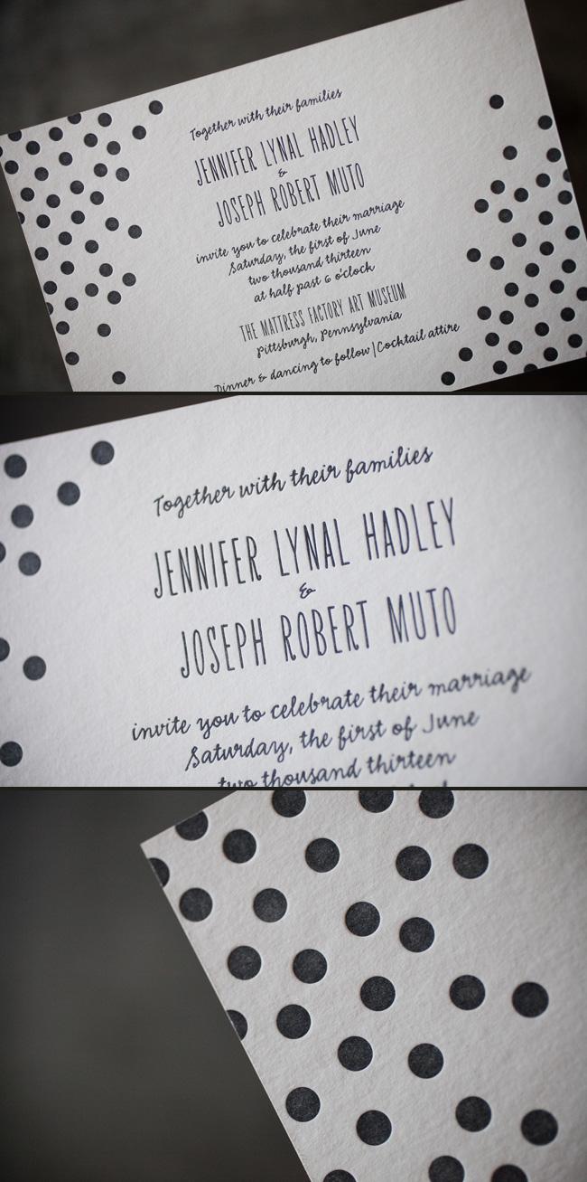 Polka Dot Letterpress Wedding Invitations Smock