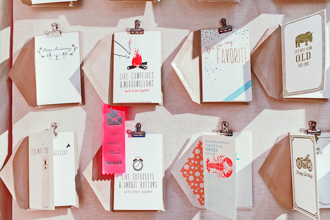 Smock's letterpress cards on display at the 2013 National Stationery Show | Photography courtesy of Nole Garey at Oh So Beautiful Paper