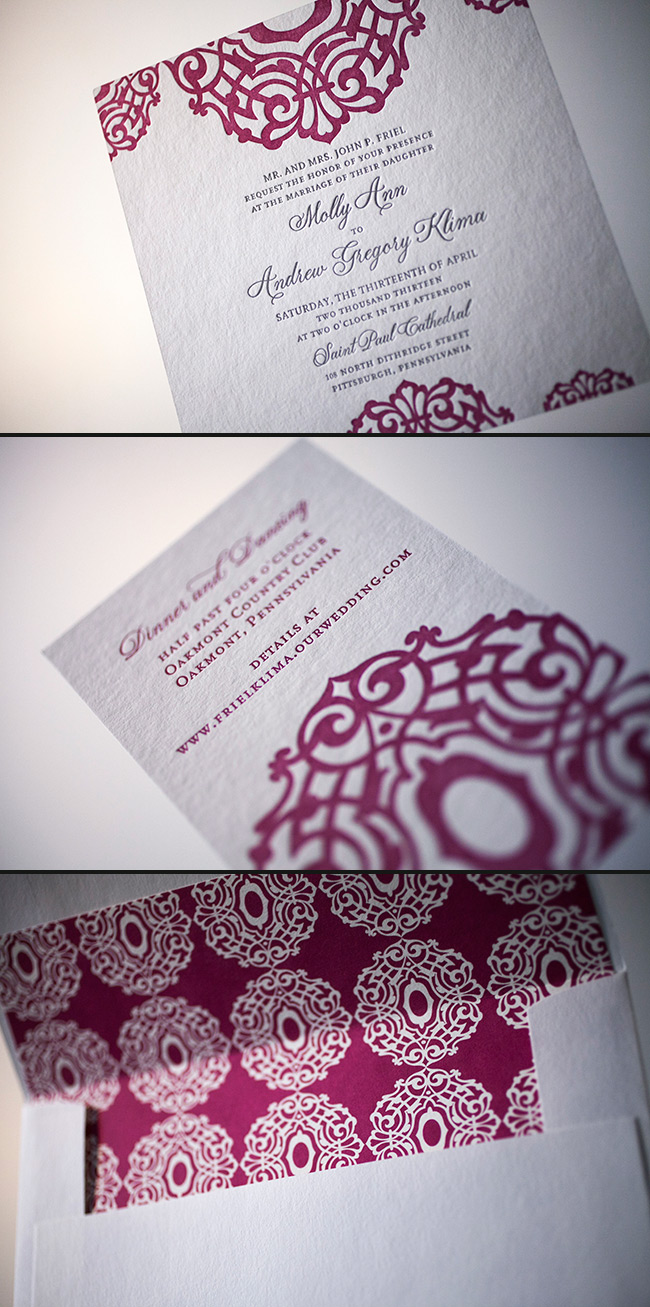 Smock's Lashar design looks lovely in silver and raspberry letterpress.