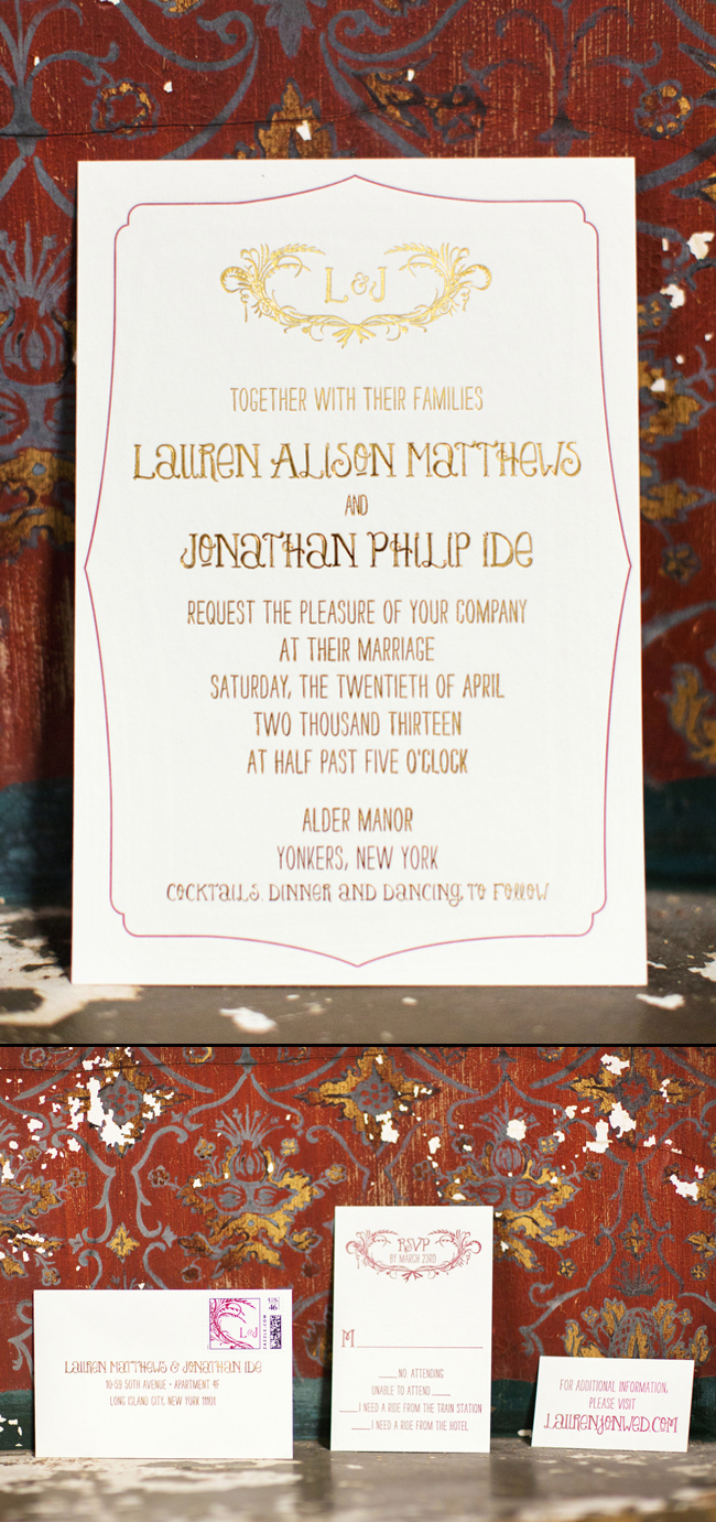 Letterpress and foil stamped wedding invitations from Smock