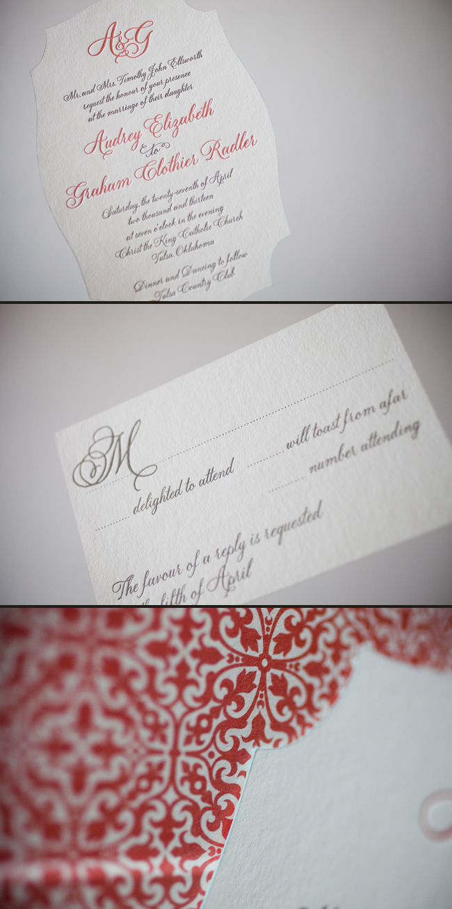 Smock's Fitzroy letterpress wedding invitation looks stunning in a die cut.