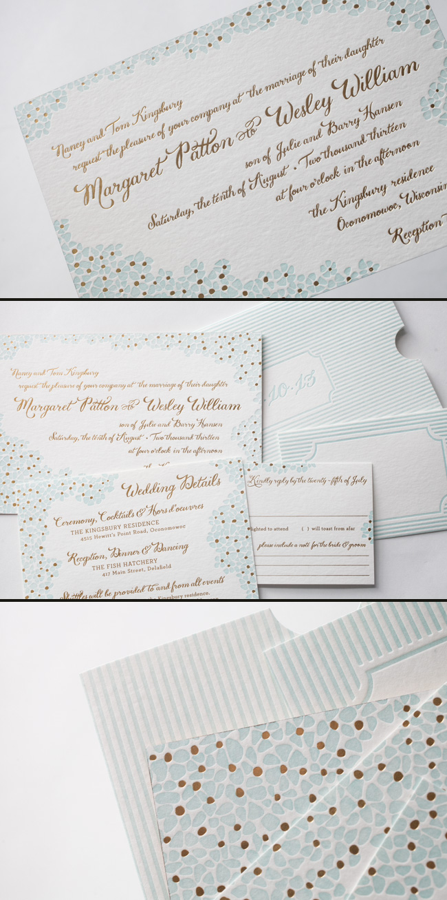 Smock's Keira Letterpress and Foil Stamped Wedding Invitations featured with a customized letterpress sleeve.