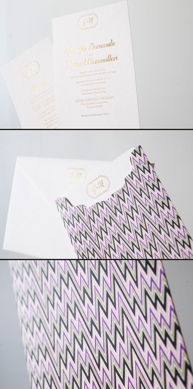 Modern Gold Invitations with a Colorful Chevron Sleeve