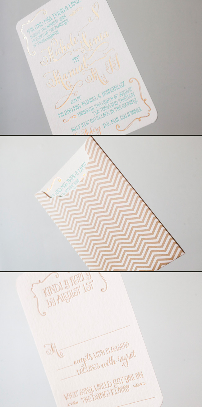 Gold Chevron Sleeve letterpress printed by Smock