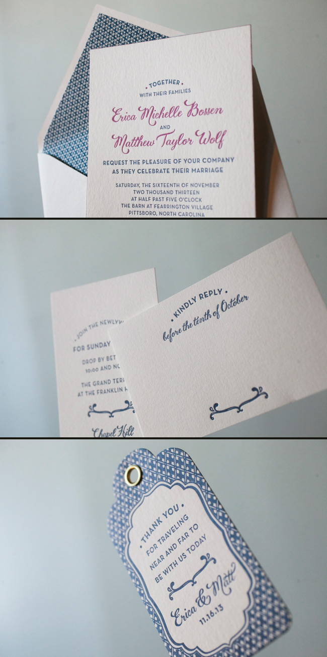 Navy Letterpress Wedding Invitation Suite