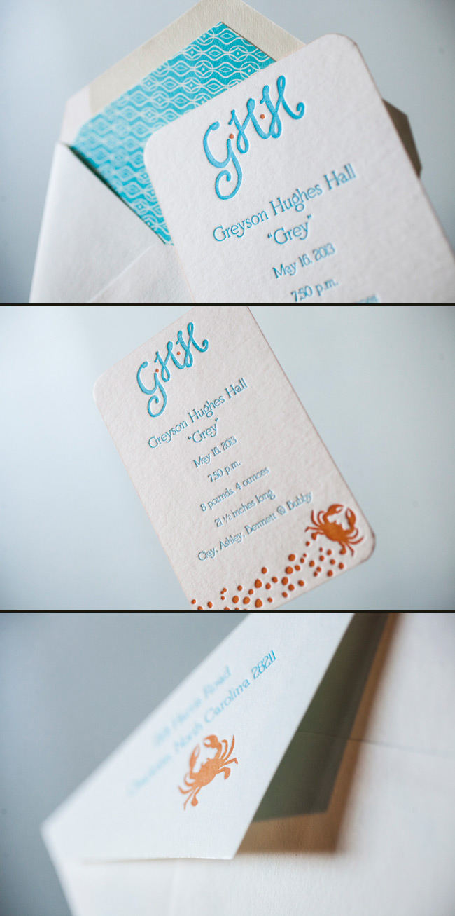 Cute Letterpress Baby Announcements by Smock