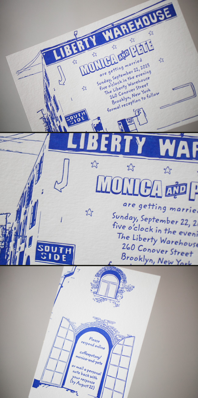 Brooklyn Blue Letterpress Wedding Invitations by Smock