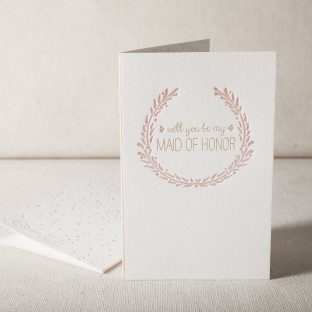 Maid Of Honor letterpress and foil card