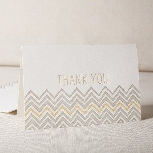 Chevron Thank You 2 letterpress and foil cards