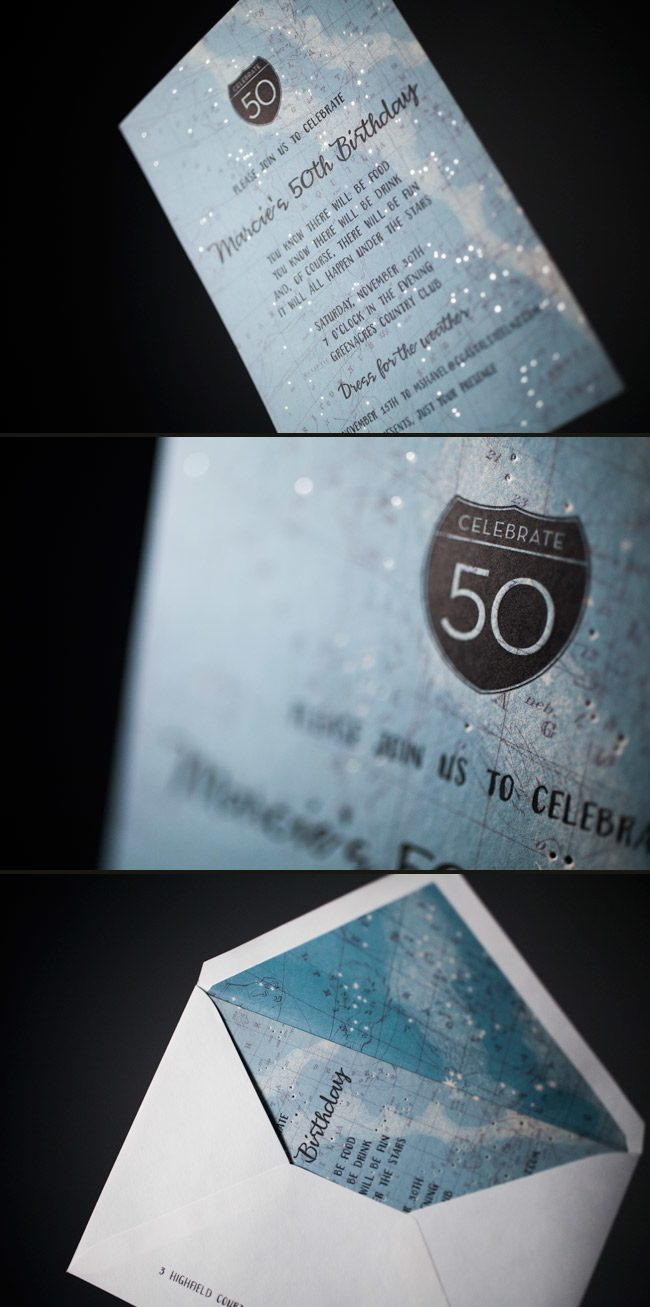 Smock's Cimarron design is perfect invitation for a 50th birthday party