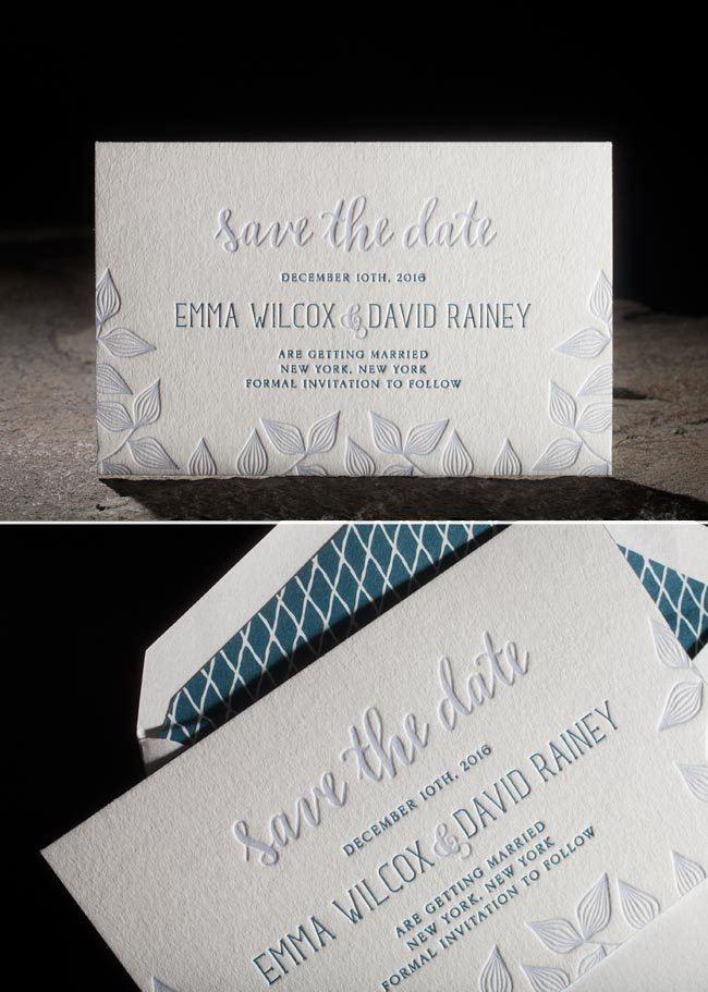 Avella letterpress save the dates + lined envelopes from Smock