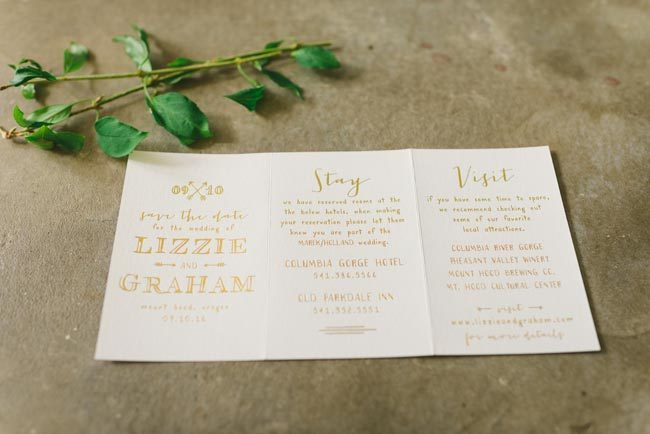 Cimarron foil stamped, tri-fold save the dates by Smock | Photography by Kate Ignatowski