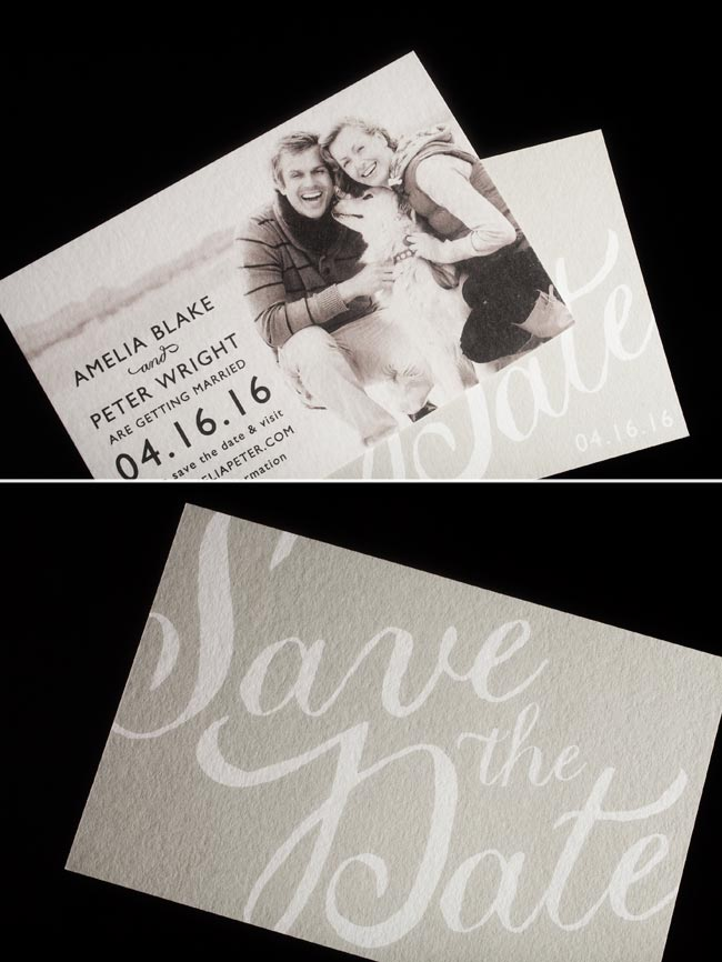 Emory digital photo save the dates + lined envelopes from Smock