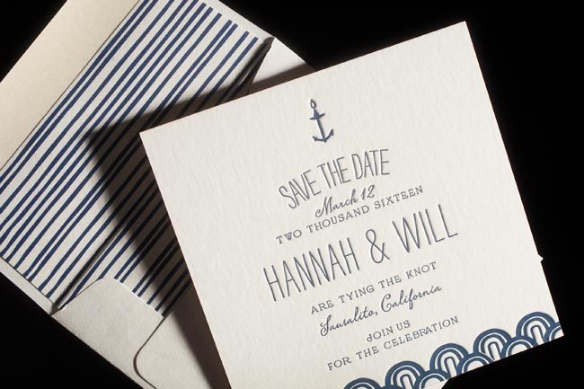 Fremont letterpress save the dates + lined envelopes from Smock