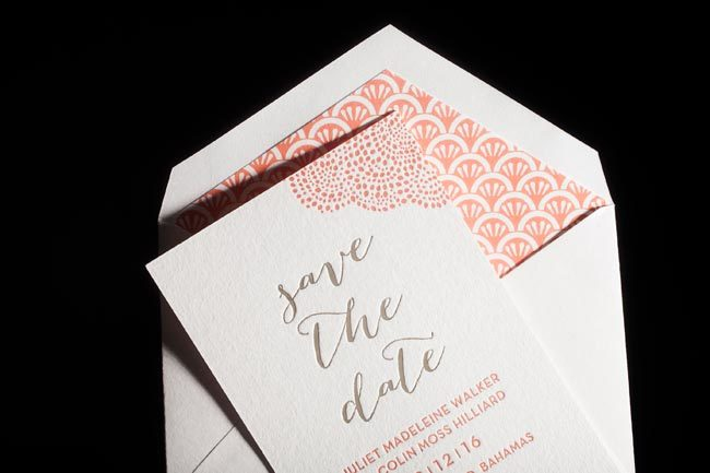 Rainier letterpress + foil stamped save the dates + lined envelopes from Smock