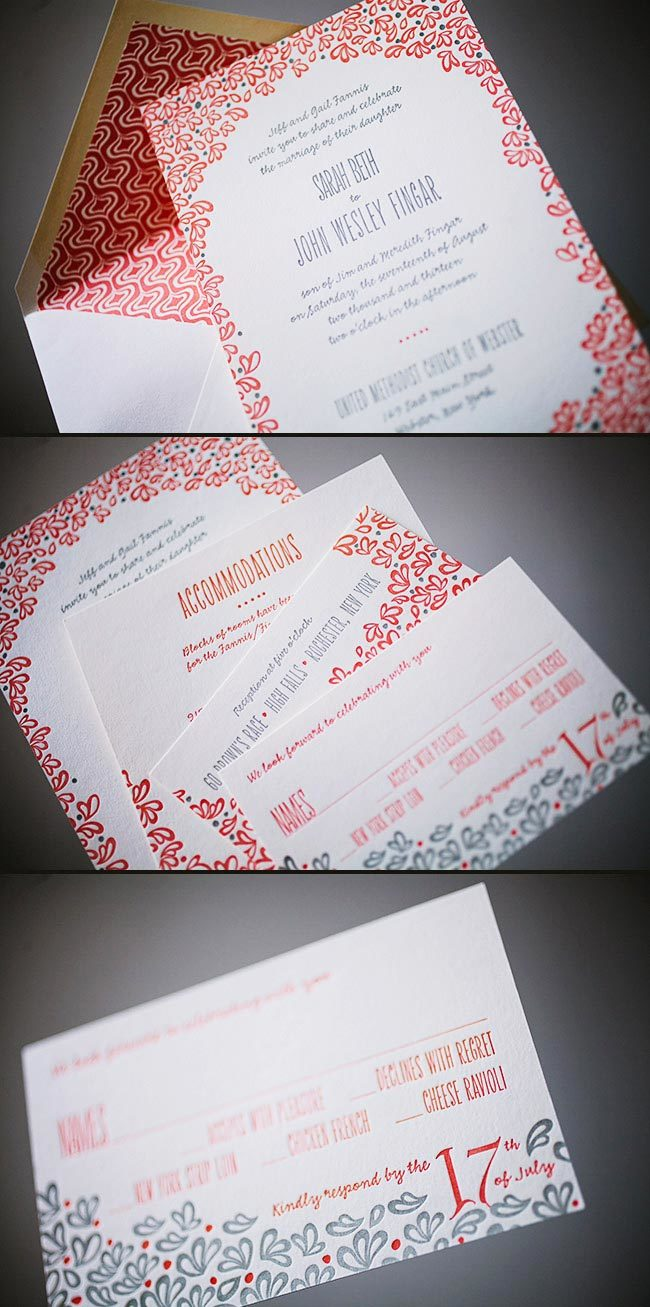 Vibrant Aneto letterpress wedding invitations from Smock