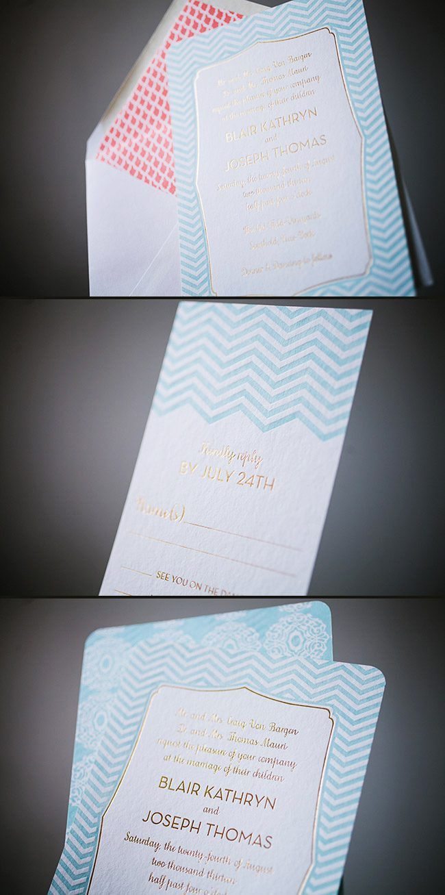 Elegant letterpress & foil stamped wedding invitations