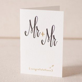 Mr and Mr Script letterpress and foil card