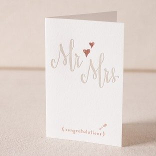 Mr and Mrs Script letterpress and foil card
