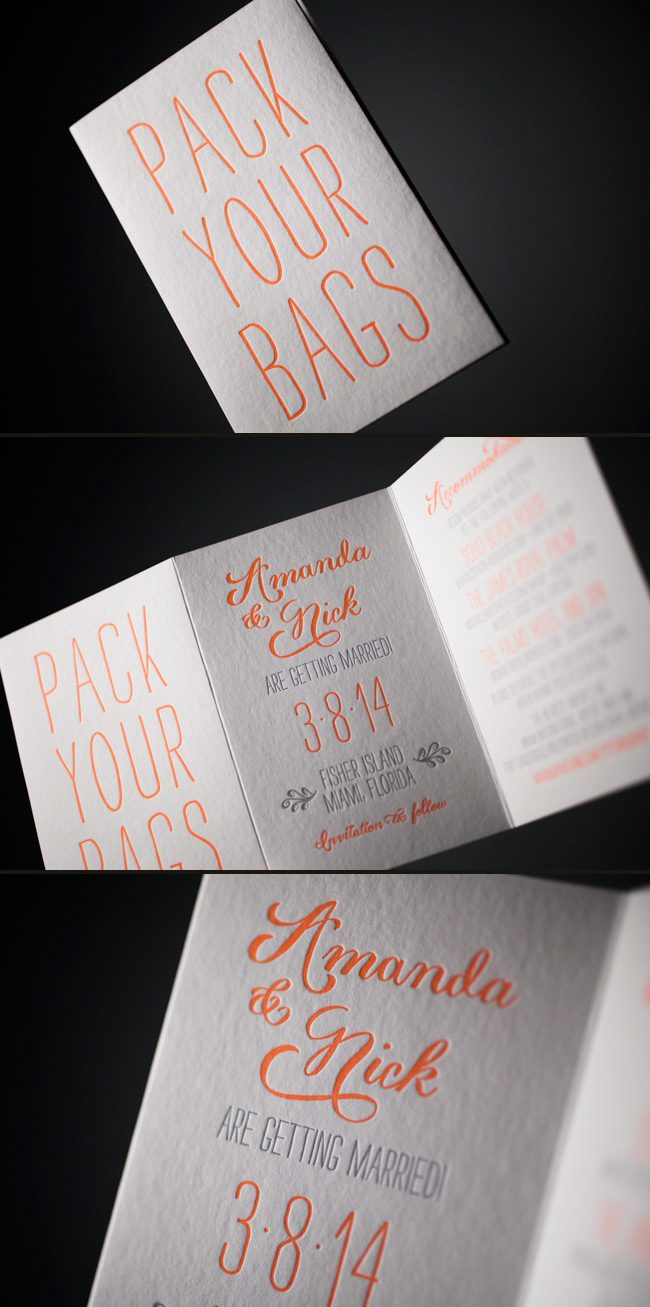 Trifold, custom-designed letterpress save the dates from Smock