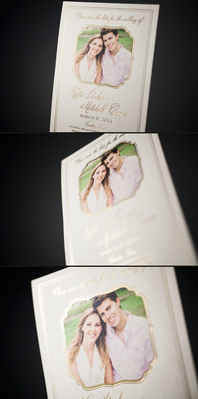 Elegant foil stamped, photo save the dates from Smock