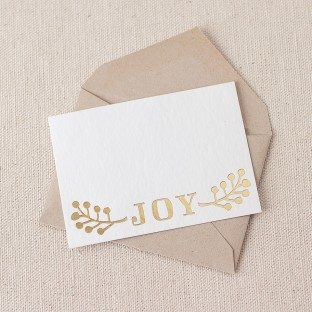 Joy foil stamped gift tags
