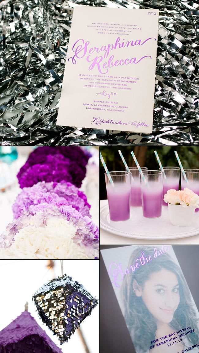 Purple Bat Mitzvah Party Inspiration from Smock