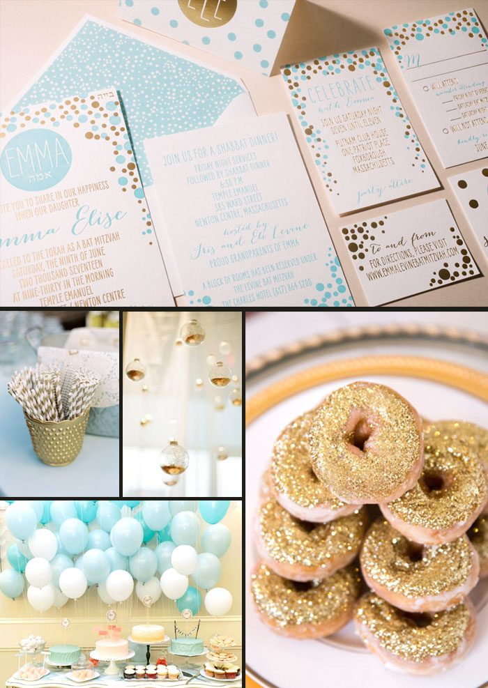 Dots Bat Mitzvah party inspiration + letterpress and foil stamped invitations from Smock