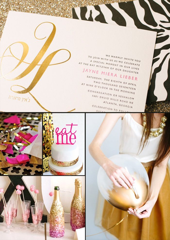 Gold foil Finley Bat Mitzvah Invitations + party ideas from Smock