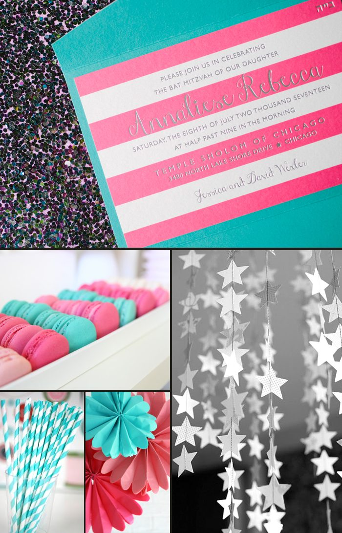 Peyton Bat Mitzvah invitations + party ideas from Smock