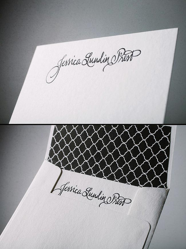 Custom letterpress printed social notes from Smock