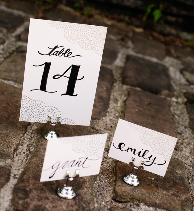 Rainier silver foil stamped table cards + escort cards from Smock