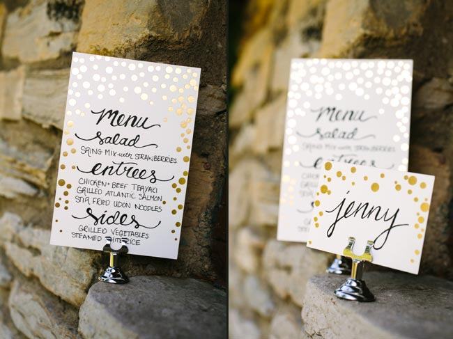 Gold foil stamped table number cards + escort cards from Smock
